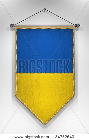 Pennant with Ukrainian flag. 3D illustration with highly detailed texture.