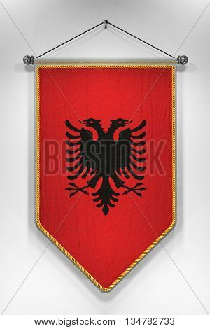 Pennant with Albanian flag. 3D illustration with highly detailed texture.