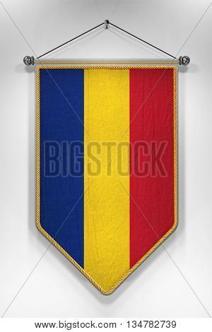 Pennant with Romanian flag. 3D illustration with highly detailed texture.