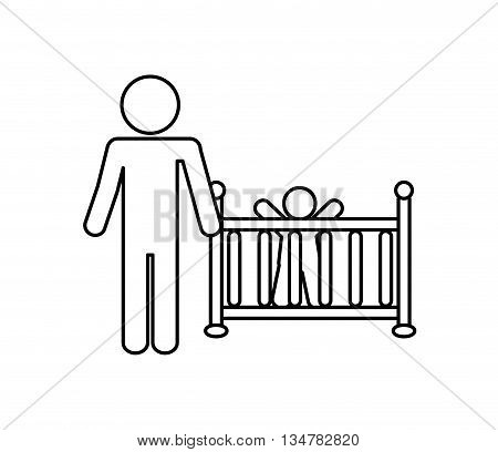 Pictogram of Family design about baby and father illustration, flat and isolted design