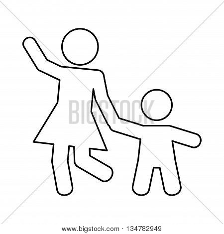 Pictogram of Family design about mother and son  illustration, flat and isolted design