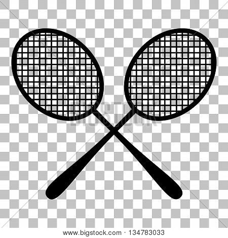 Tennis racquets sign. Flat style black icon on transparent background.
