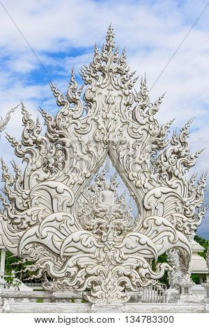 The unique architecture in Wat Rong Khun - The White temple Chiang Rai, Thailand.