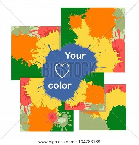 Set of cards with color blots.Set of cards with color blots.