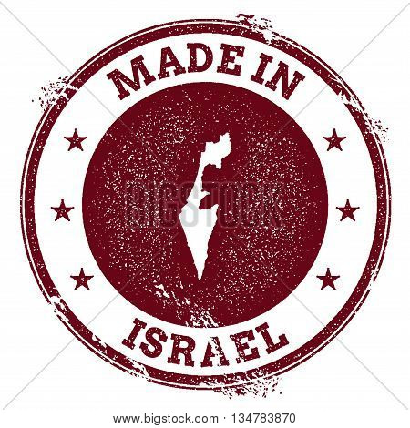 Israel Vector Seal. Vintage Country Map Stamp. Grunge Rubber Stamp With Made In Israel Text And Map,