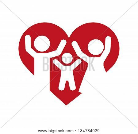 Pictogram of Family design about couple and son  illustration, flat and isolted design