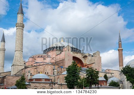 ISTANBUL, TURKEY - JUNE 19, 2015: Hagia Sophia was a Greek Orthodox Christian patriarchal basilica (church) later an imperial mosque and now a museum in Istanbul Turkey