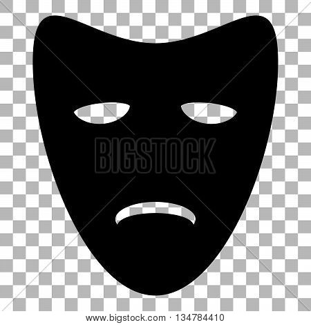 Tragedy theatrical masks. Flat style black icon on transparent background.