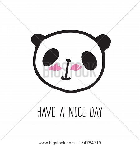 Small card with a cute panda. Hand drawn panda for your design. Doodles, sketch. Vector illustration.