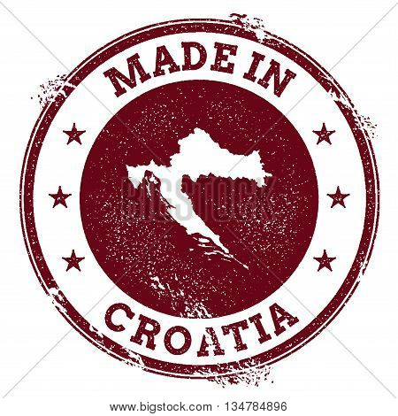 Croatia Vector Seal. Vintage Country Map Stamp. Grunge Rubber Stamp With Made In Croatia Text And Ma