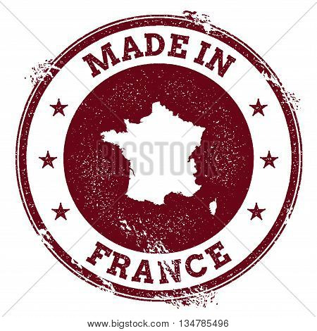 France Vector Seal. Vintage Country Map Stamp. Grunge Rubber Stamp With Made In France Text And Map,