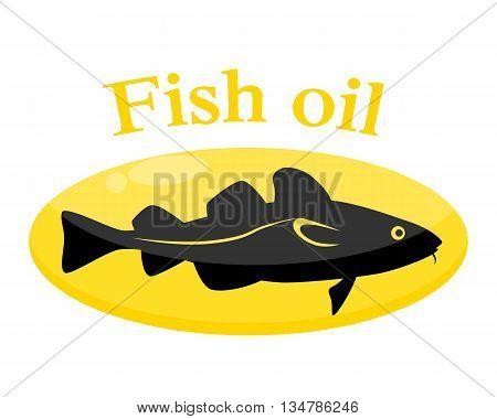 Fish oil. Cod in the pill. Vector illustration