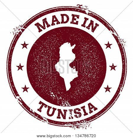 Tunisia Vector Seal. Vintage Country Map Stamp. Grunge Rubber Stamp With Made In Tunisia Text And Ma