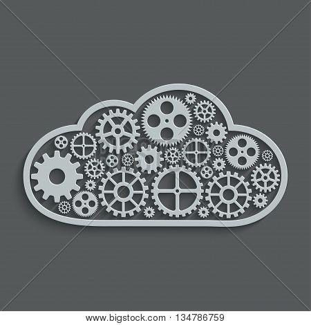 vector modern mechanism computing cloud concept. Technology gears background
