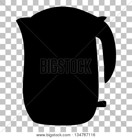 Electric kettle sign. Flat style black icon on transparent background.