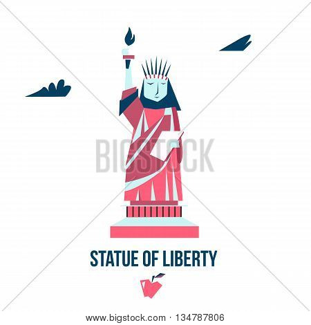 Isolated statue of liberty on white background. Flat style. Vector illustration.