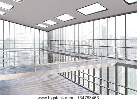 Empty office interior with railing panoramic windows and New York city view. 3D Rendering
