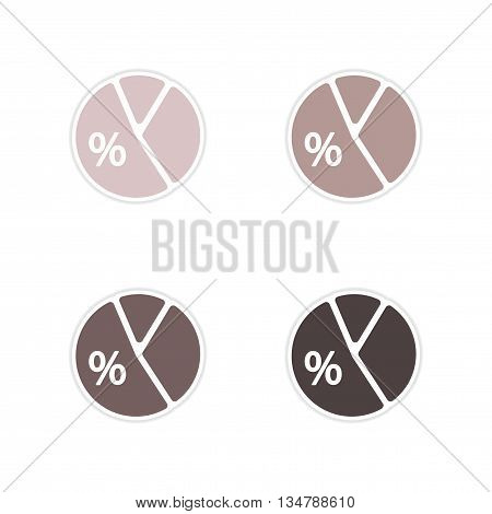 Set of paper stickers on white  background economic chart