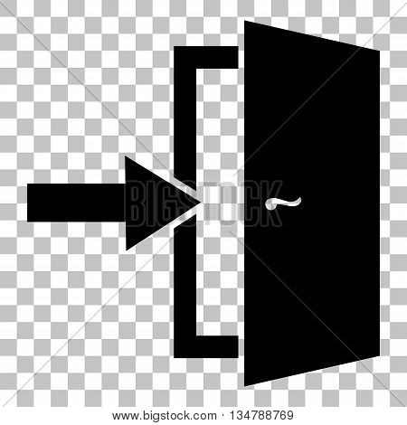 Door Exit sign. Flat style black icon on transparent background.