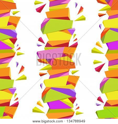 Abstract geometric seamless triangles border pattern background. Orange, yellow, green, purple vertical abstract triangles design on white background. Colorful triangles pattern. Vector illustration.