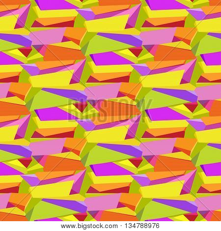 Abstract geometric seamless triangles pattern background. Orange, yellow, green and purple geometric abstract triangles design. Colorful bright chaotic triangles pattern. Vector illustration.