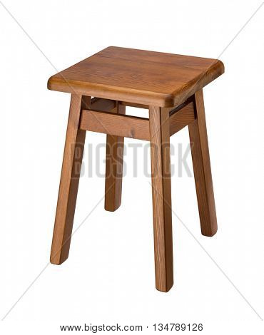 Wooden stool isolated on white background.