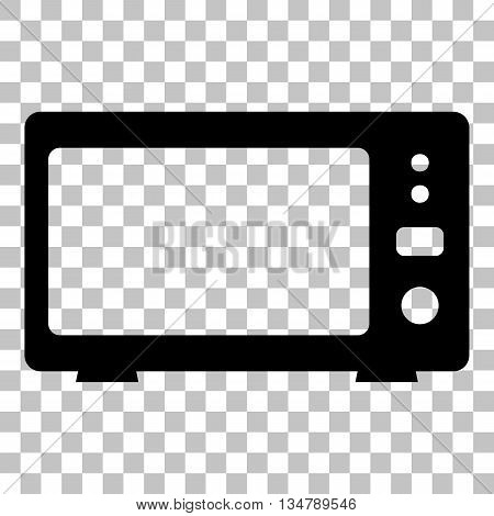 Microwave sign illustration. Flat style black icon on transparent background.