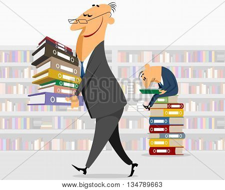 Vector illustration of a businessman brings documents