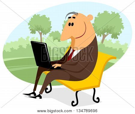 businessman with a laptop on the bench