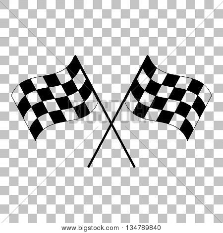 Crossed checkered flags logo waving in the wind conceptual of motor sport. Flat style black icon on transparent background.
