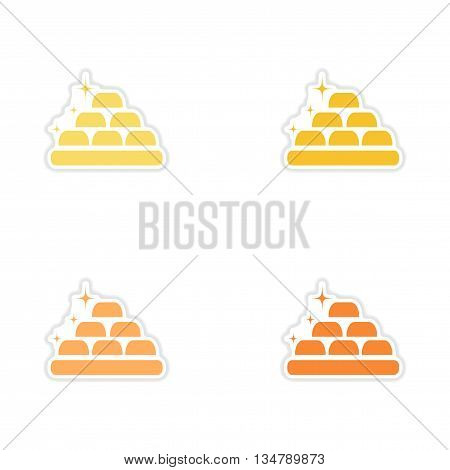 Set of paper stickers on white  background gold bars