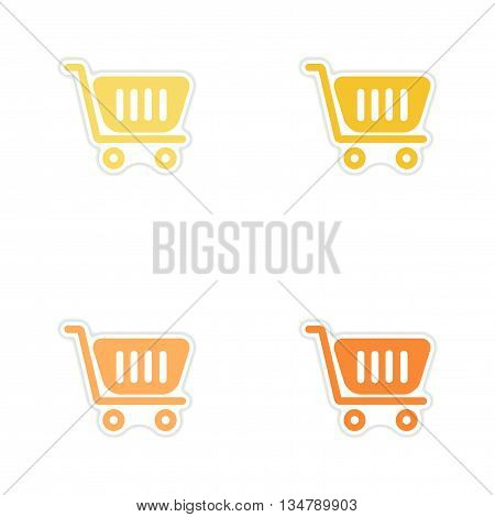 Set of paper stickers on white  background cart