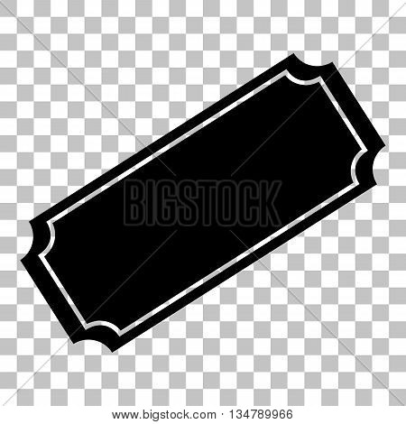 Ticket sign illustration. Flat style black icon on transparent background.