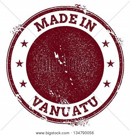 Vanuatu Vector Seal. Vintage Country Map Stamp. Grunge Rubber Stamp With Made In Vanuatu Text And Ma