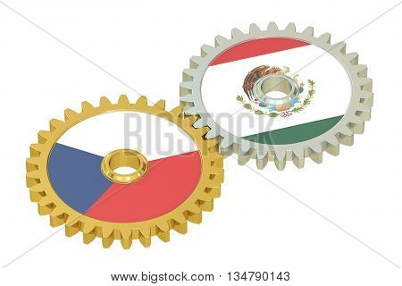 Czech Republic and Mexico flags on a gears 3D rendering isolated on white background