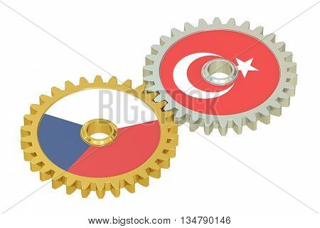 Czech Republic and Turkey flags on a gears 3D rendering isolated on white background
