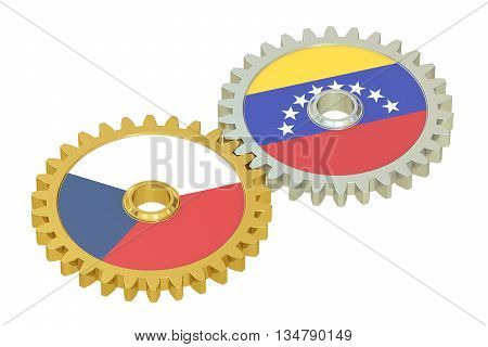 Czech Republic and Venezuela flags on a gears 3D rendering isolated on white background