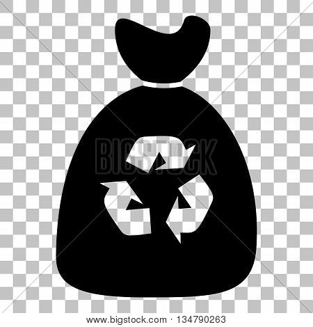 Trash bag icon. Flat style black icon on transparent background.