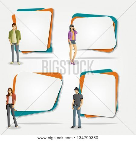 Vector banners / backgrounds with cartoon young people. Design text box frames. Manga anime teenagers.