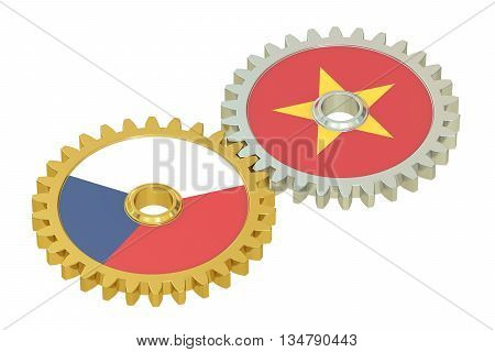 Czech Republic and Vietnam flags on a gears 3D rendering isolated on white background