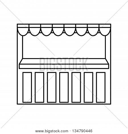 Shopping mini market concept represented by store with pennants  illustration, flat and isolated design