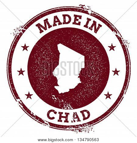 Chad Vector Seal. Vintage Country Map Stamp. Grunge Rubber Stamp With Made In Chad Text And Map, Vec