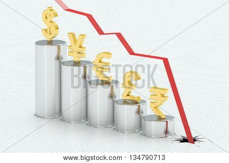 Falling bar chart with symbols of currencies 3D rendering