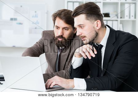 Two businesspeople with beards sitting at office desk and discussing business project on laptop