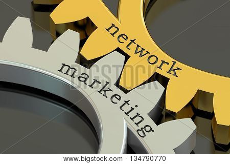 network marketing concept on the gearwheels 3D rendering