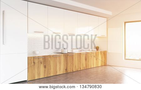 Side view of white and wooden kitchen interior with blank whiteboard window with city view fridge and concrete floor. Toned image. 3D Rendering