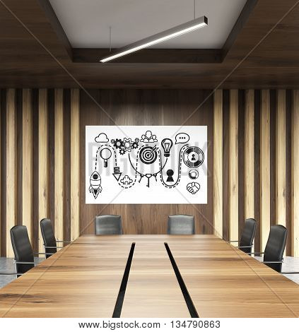 Startup concept with rocket ship sketch on whiteboard in modern conference room interior. 3D Rendering