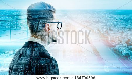 Side view of stylish businessman in glasses on Paris city background. Double exposure