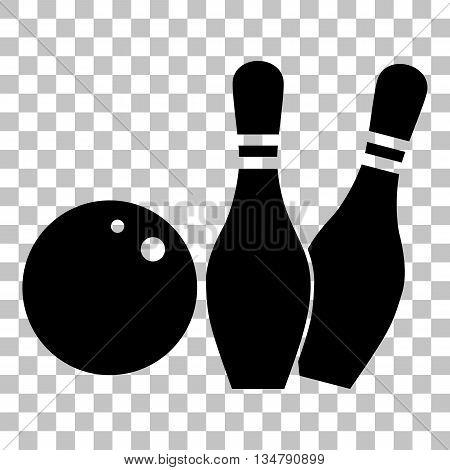 Bowling sign illustration. Flat style black icon on transparent background.