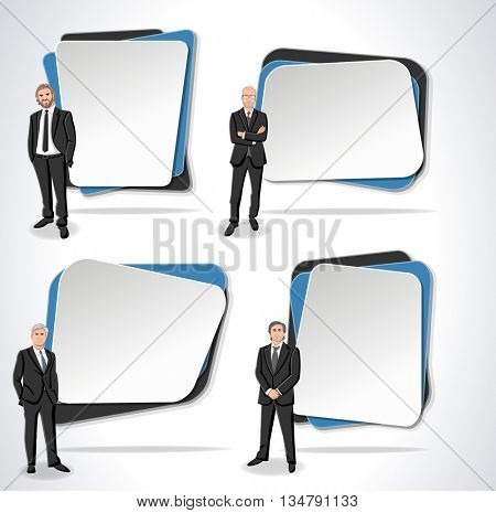 Vector banners / backgrounds with business men. Design text box frames.
